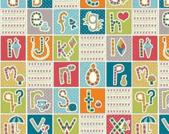 "ABC Alphabet Continuous Patchwork Panel From Birch Organic Fabric's Picnic Whimsy's Collection by Rebekah Ginda - 23.5""x44"""