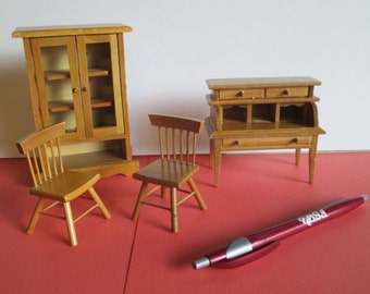 Doll House Furniture, Vintage, 4 Pieces, China Cabinet w/ Working Doors, Desk, 2 chairs, Solid Wood, Miniature Furnishings Fairy Furnishings