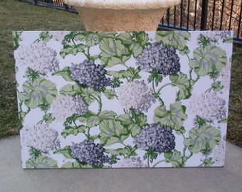 "PinBoard Corkboard Cork Bulletin Message Pin Board 23"" x 35"" Charcoal Gray & Cream Hydrangea Floral Print on White Fabric, NailHead Trim"