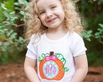 Pumpkin Applique Shirt, Halloween Shirts for Girls, Girls Pumpkin Shirt, Girls Thanksgiving Shirt, Pumpkin Patch Outfit