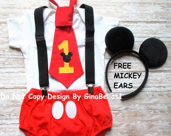 Mickey Mouse Birthday cake smash outfit suspenders FREE Ears first RED I am one tie diaper cover Bodysuit is NOT included 9 12 18 24 toddler