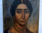 Sale Fayum Mummy Portrait Painting Woman with Necklace Oil/Board Art Home Decor