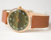 Retro Men's Wrist Watch, Forest Green Gent's Watch Ray, Gold Plated AU 10 Watch, Slim Classic Men Watch Mechanical,Premium Leather Strap New