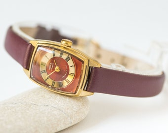 Rectangular women watch Chaika, gold plated woman watch modern, rare design lady's watch burgundy face, premium genuine leather strap new