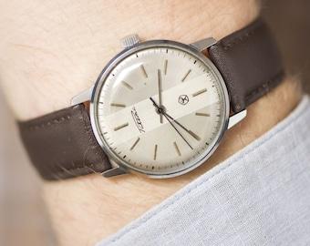 Tomboy wristwatch Rocket, silver grey shades men's watch, minimalist wristwatch, Quality Mark USSR watch unisex, premium leather strap new