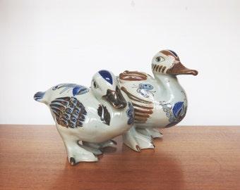 Vintage Pair Mid Century Folk Art Pottery El Palomar Duck Figurines - Ken Edwards