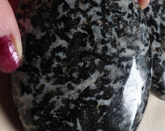 Black Tourmaline With Calcite, Black Tourmaline Palm Stones, Protection, Grounding, Black Tourmaline, White Calcite, Schorl