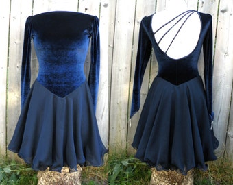 Navy Blue Velour and Organza Skate or Dance Dress - M
