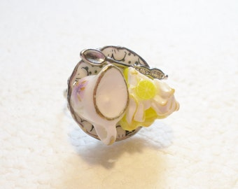 Lemon Meringue Pie Ring. Polymer Clay.