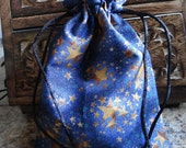 STAR CLUSTERS Handmade Drawstring Bag Pouch for Tarot, Mojo, Runes, Trinket, Gift Bag Wiccan Pagan Gift