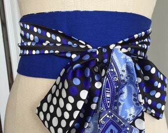 Royal blue print obi belt sash, paisley bright blue obi sash, reversible blue obi, polka dot print obi belt sash, waist cincher obi