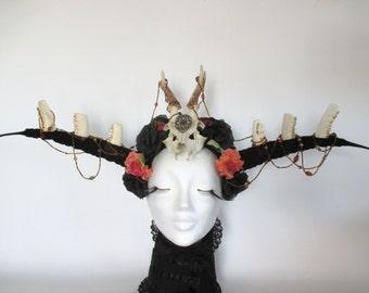 Deer Antler Headdress, Headdress with Bones, Crown Horns Headpiece Halloween Mythical