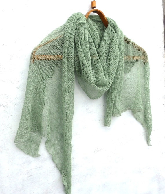 Knitting Summer Scarves : Knit linen shawl knitted summer scarf light green
