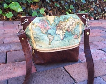 World map messanger purse | cross body bag
