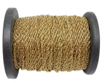 1ft Antique Gold Toned Rope Chain - 1 Foot - (CHN-661)