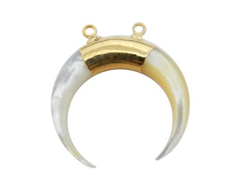 Mother Of Pearl Crescent Double Horn Double Bail Pendant with 24k Gold Electroplated Band (S93B13-03)