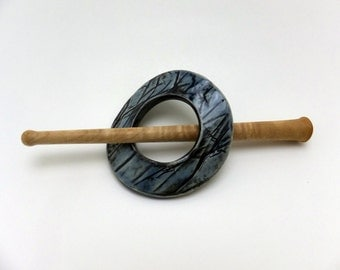 Ceramic celadon blue shawl pin with maple wood stick