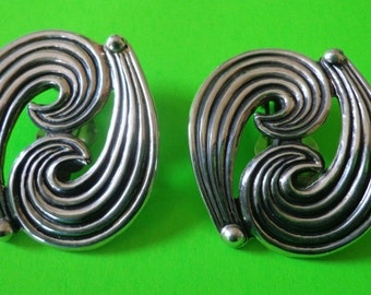 mint Sterling Mexico EARRINGS GORGEOUS SILVER 20 Grams 925 Vintage Scroll paisley Signed Jewelry