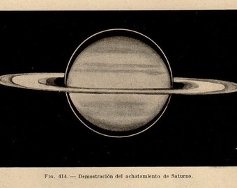 1912 Map Of Saturn 575, Original Vintage Space Astronomy Print