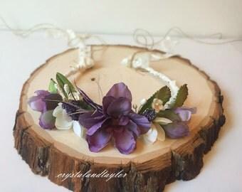 Purple and Lavender Floral Headband, Baby Girl Halo, Purple Halo, Newborn Halo, Photo Prop, Newborn Headband, Lavender Tiara, Girl Headband