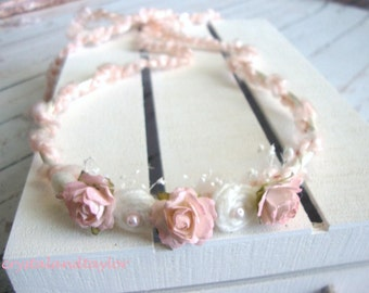 Halo Headband in Pale Pink, Baby Girl Headband, Flower Headband, Baby Tieback, Photo Prop, Newborn Headband, Baby Tiara, Pink Crown