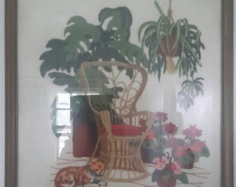 1979 Framed Needlepoint Picture Peacock Chair Plants Jungalo Style