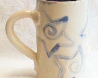 Blue star coffee mug 16oz stoneware 16B055