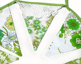 Vintage Bunting >> Pretty Eco - Green Floral & Doily Lace Flags. Celebrations Banner, Parties, Party, Wedding etc