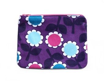 Purple Retro Flowers zippered pouch / zip purse . Handmade . Ladies, Adult, Teen . Birthday Christmas Gift Idea