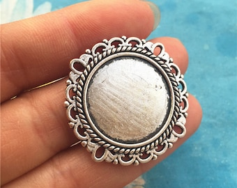 20pc 30mm antiqued silver cabochon/cameo round base setting charms findings(fit 20mm cabochons)