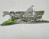 Grasshopper on a Leaf Brooch with Rhinestones-Green and Silver - Sweet Summer Fun