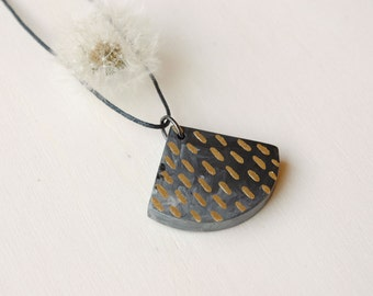 Black and gold wooden necklace hand painted wood necklace minimal necklace