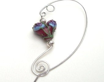 Red Heart Shawl Pin, Silver Shawl Pin, silver scarf pin, lampwork, floral, sweater pin, flowers, aluminum, wire, hammered