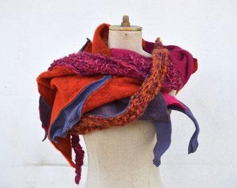 Boho fuchsia pink orange shawl Wool Felt Hand knited patchwork art to wear, unique OOAK, soft felted wool geometrical woman fashion