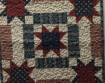 Machine quilted Red White & Blue Patriotic Star Door or Wall Hanging