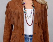 Vintage 1970's Berman's Women's Western Brown Suede Leather HiPPiE BoHo BiKeR Fringed Jacket Size S 10