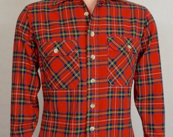 Vintage 1970's Men's SEARS Fieldmaster PLaiD Grunge Outdoors Flannel Shirt HiPsTeR Size S