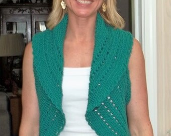 Crocheted Circle Vest Dark Teal Lacy  A1503