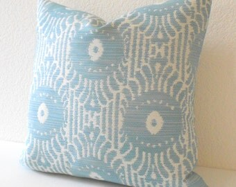 SALE Light blue ikat decorative throw pillow cover
