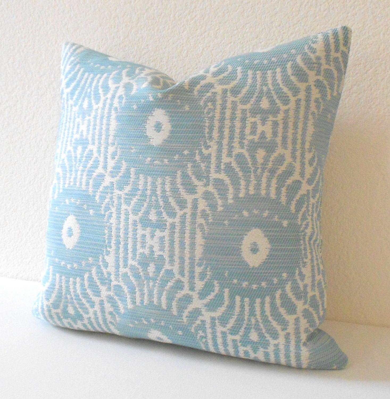 CLEARANCESALE Light blue ikat decorative throw pillow cover