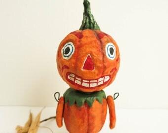 Spooky Pumpkin Man by Debbee Thibault - Primitive Folk Art Jack O Lantern Man - Anthropomorphic Gourd Doll - Rustic Halloween Decoration