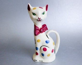 1950's Polka Dot Cat with Green Eyes and Long Tail - by Knox Imperial - Mid Century Slender White Cat Figurine with Big Red Bow