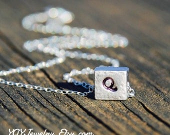 Silver Square Necklace With Initials, Two sided Engravings, Sterling Silver Chain, Square Pendant, Letter Necklace, Birthday gift