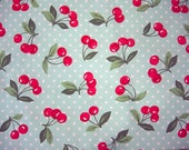 Cherry fabric - red cherries on aqua blue dot background
