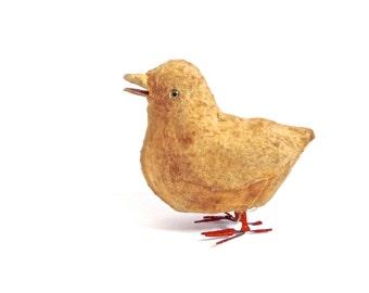 Antique Spun Cotton Baby Chick, cotton batting Ornament, Antique Easter, Feather Tree Ornament, Antique Primitive Easter, Spring Chick
