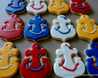 Hand decorated Nautical Anchorwith rope  sugar cookies for baby showers and other events (#2626)