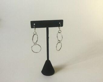 Earrings,Silver Circles,Dangle Earrings, Vintage Circles