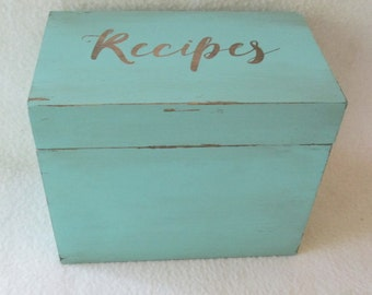 Shabby Chic Recipe Box - Cottage Chic - Antique Green Recipe Box - Recipe Box - 4X6 or 5X7 Wooden Box -Personalized Recipe Box -Gift