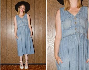 ON SALE Vintage 80s 90s Oversized Boho Hippie Preppy Grunge Denim Jean Button Up Pocket Sleeveless Full Length Babydoll Teacher Dress S