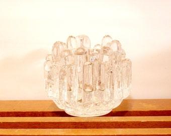 Kosta Boda Candle Holder, Vintage Crystal, Swedish, Icicle Candle, Mid-Century Modern, Swedish Modern